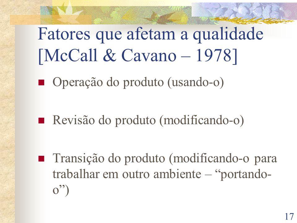 Fatores que afetam a qualidade [McCall & Cavano – 1978]